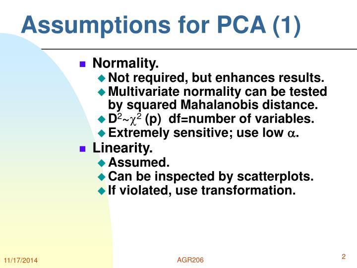 Assumptions for PCA (1)