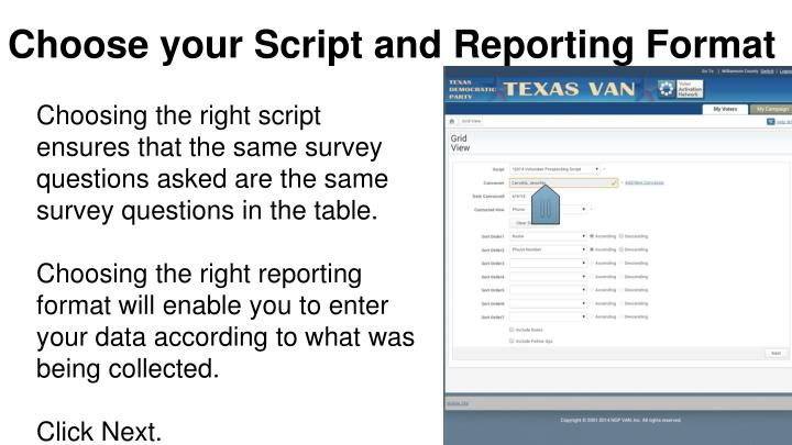 Choose your Script and Reporting Format