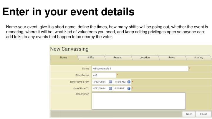 Enter in your event details