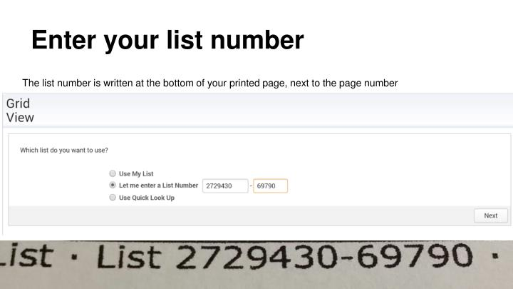 Enter your list number