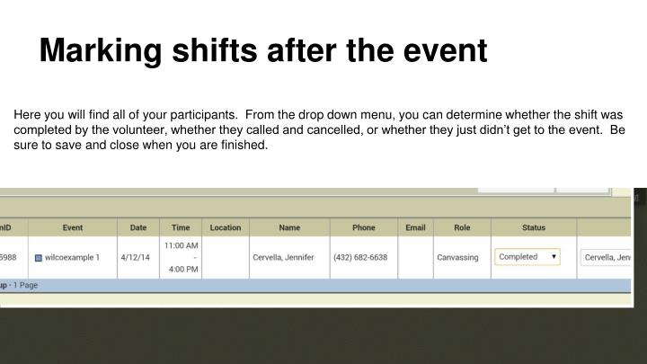 Marking shifts after the event