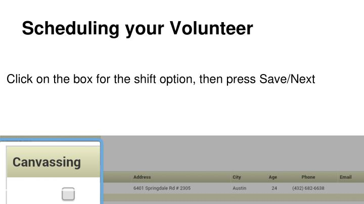 Scheduling your Volunteer