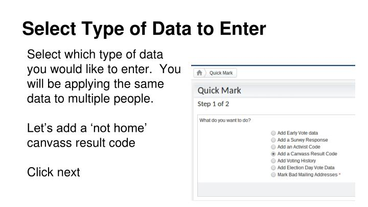 Select Type of Data to Enter