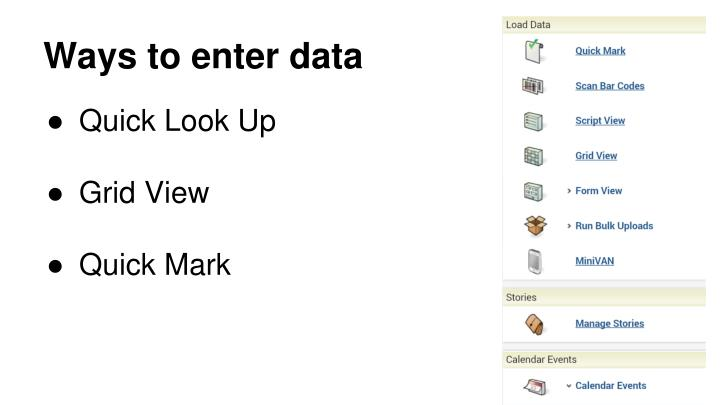 Ways to enter data