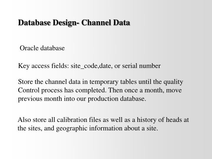 Database Design- Channel Data
