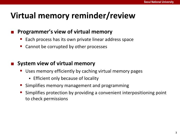 Virtual memory reminder/review