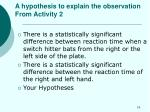 a hypothesis to explain the observation from activity 2