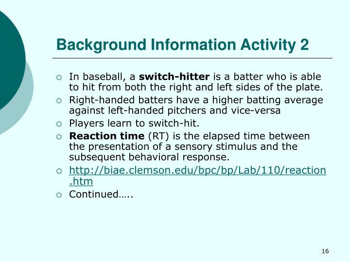 Background Information Activity 2