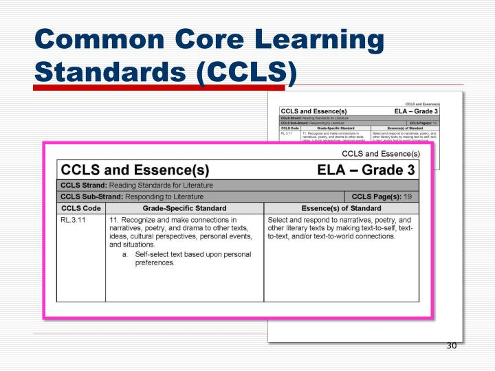 Common Core Learning Standards (CCLS)