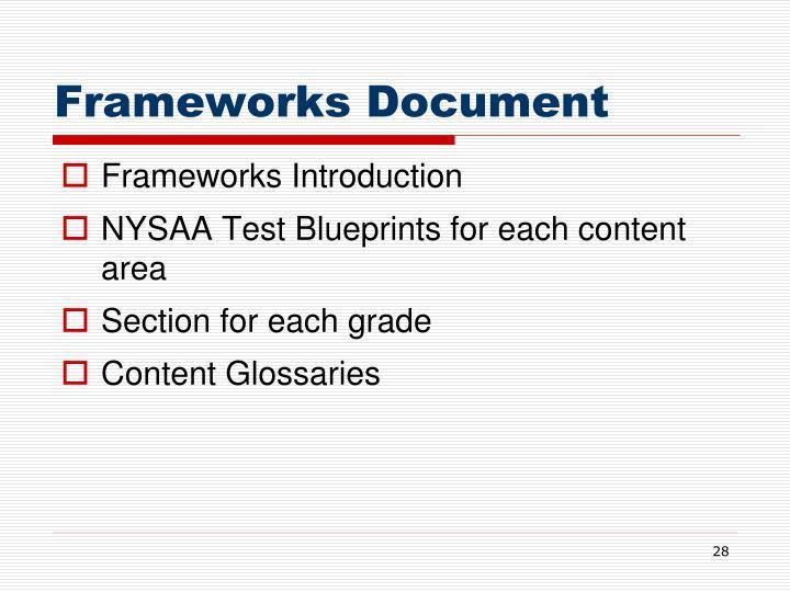 Frameworks Document