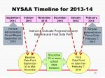 nysaa timeline for 2013 14