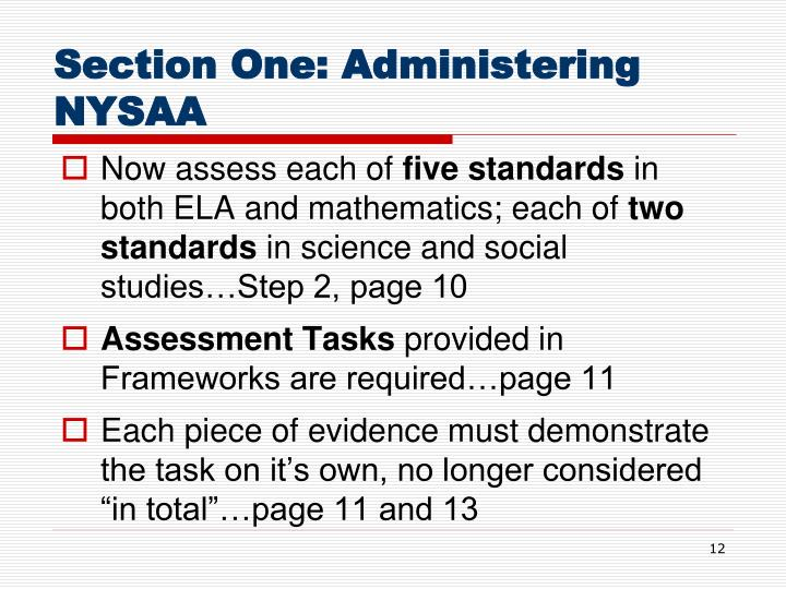 Section One: Administering NYSAA
