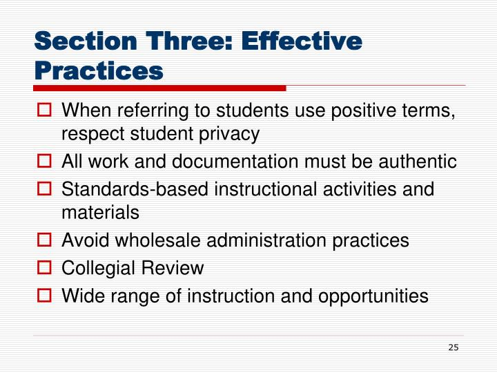 Section Three: Effective Practices