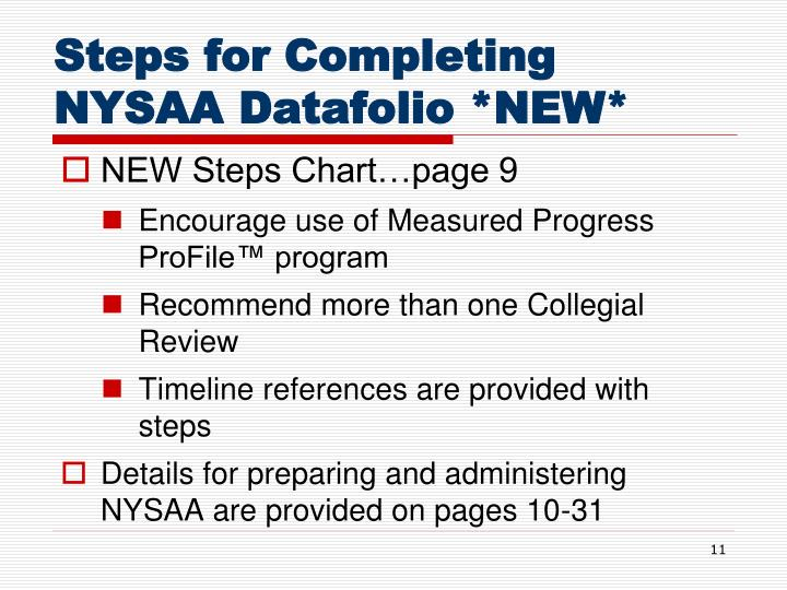Steps for Completing NYSAA Datafolio *NEW*