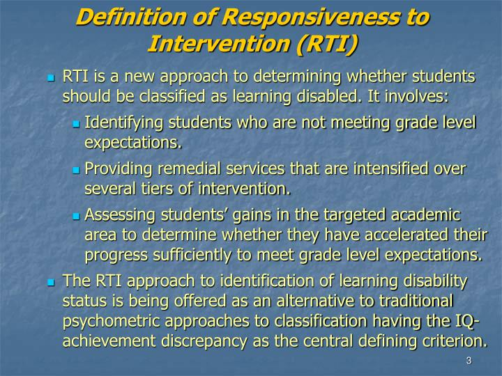 Definition of Responsiveness to Intervention (RTI)