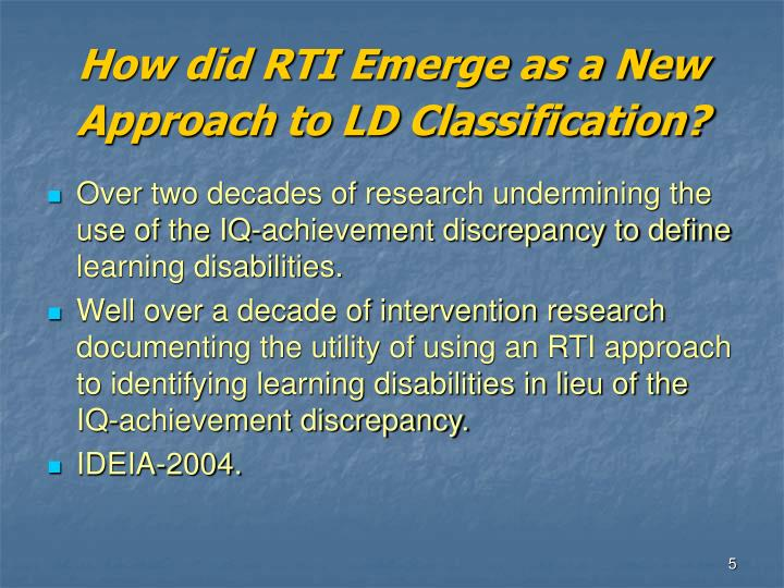 How did RTI Emerge as a New Approach to LD Classification?