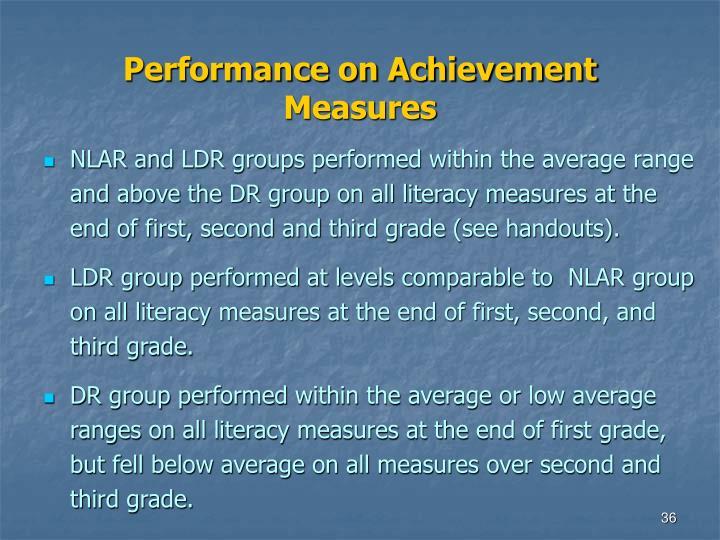 Performance on Achievement Measures
