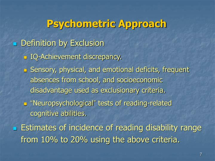 Psychometric Approach