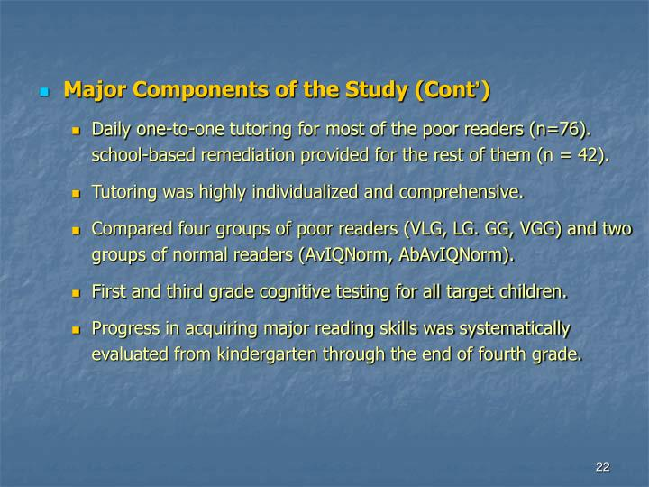 Major Components of the Study (Cont