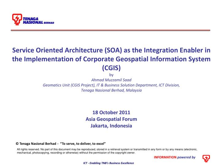 Service Oriented Architecture (SOA) as the Integration Enabler in the Implementation of Corporate ...