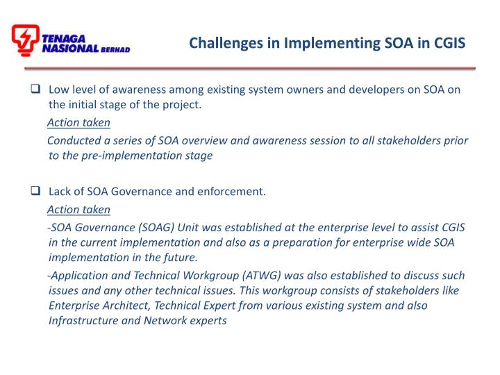 Challenges in Implementing SOA in CGIS