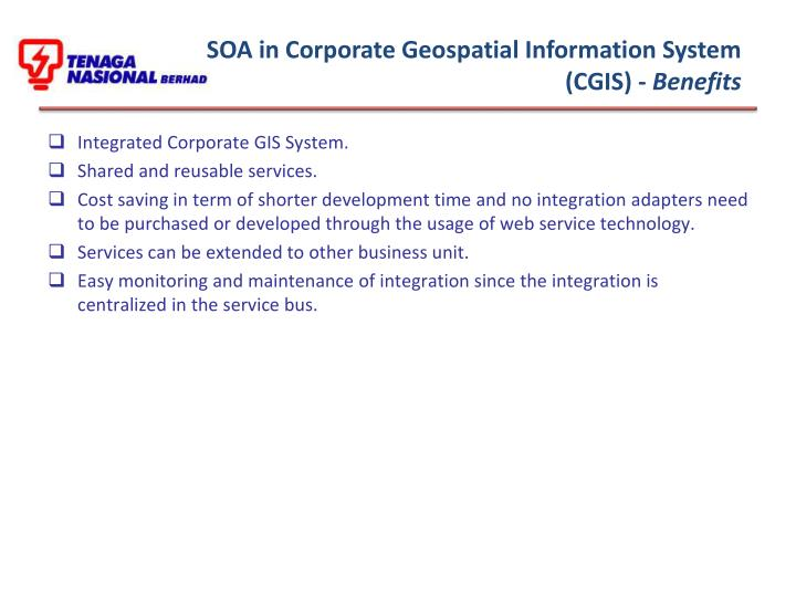 SOA in Corporate Geospatial Information System (CGIS) -