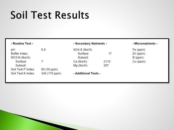 Soil Test Results