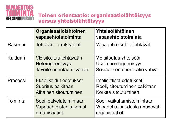 Toinen orientaatio: organisaatiolähtöisyys