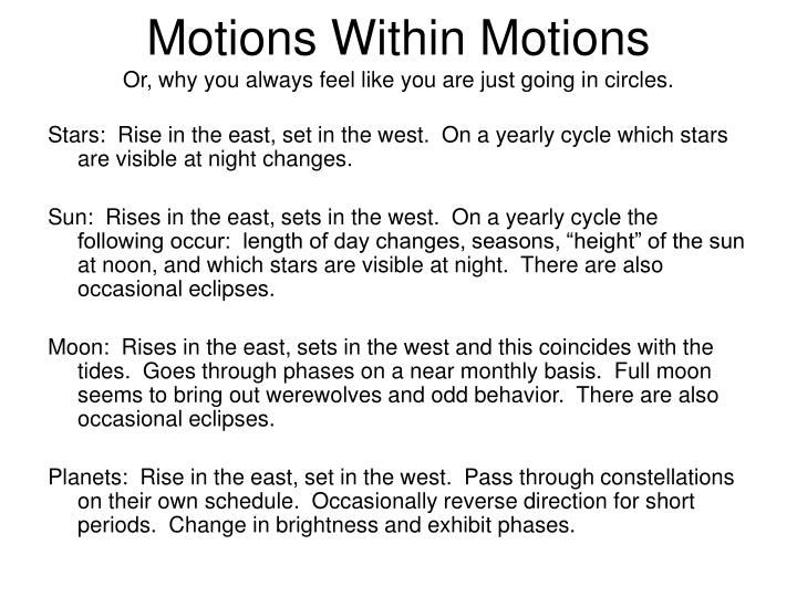 Motions Within Motions