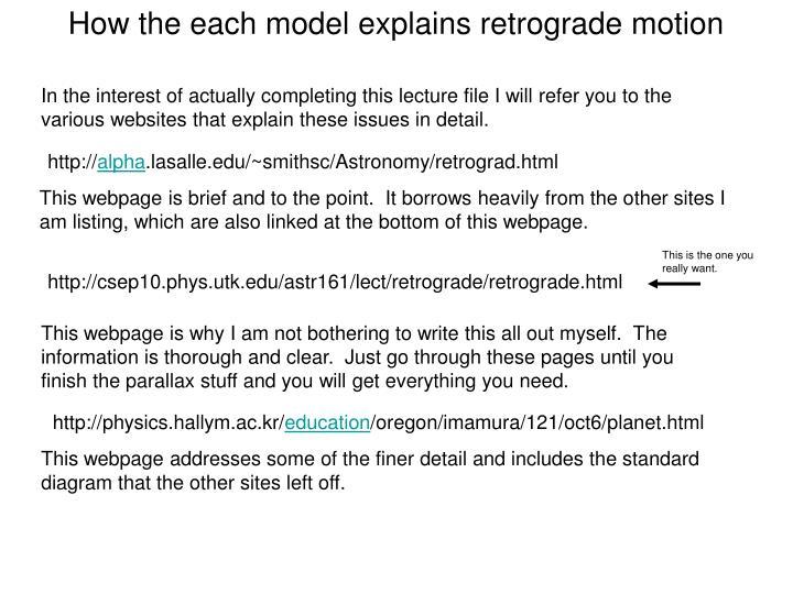 How the each model explains retrograde motion