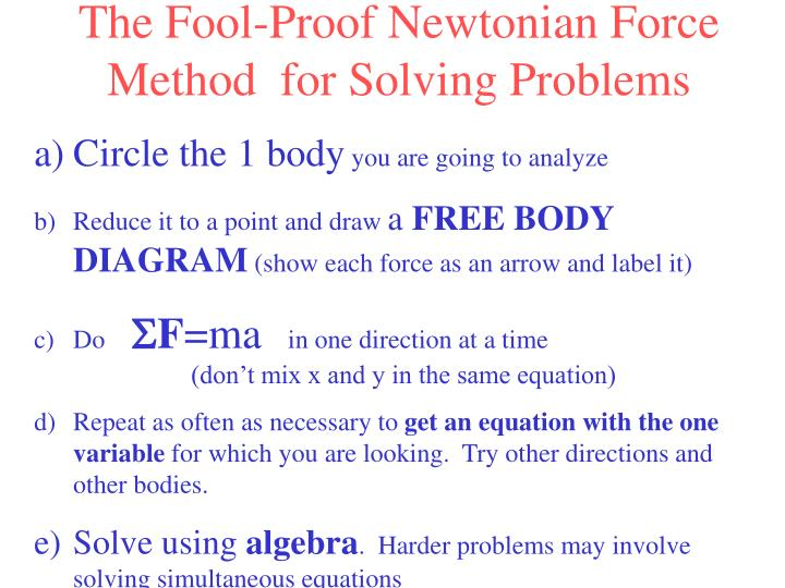 The Fool-Proof Newtonian Force Method  for Solving Problems