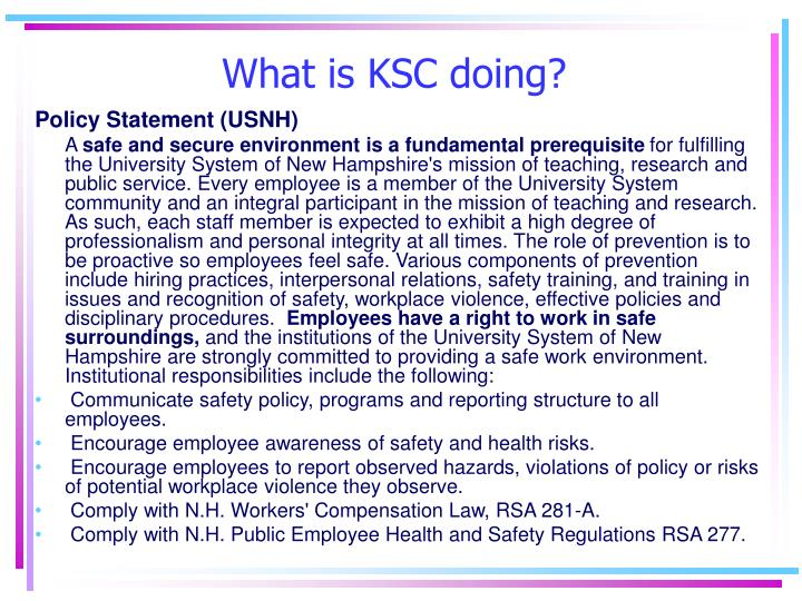What is KSC doing?