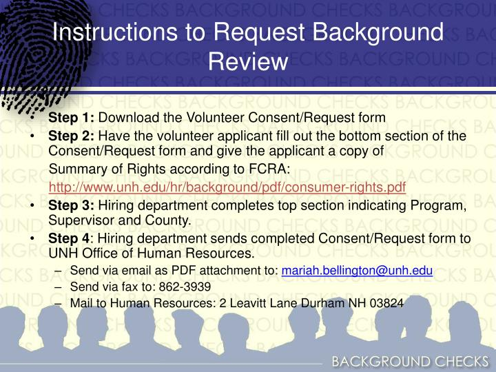 Instructions to Request Background Review