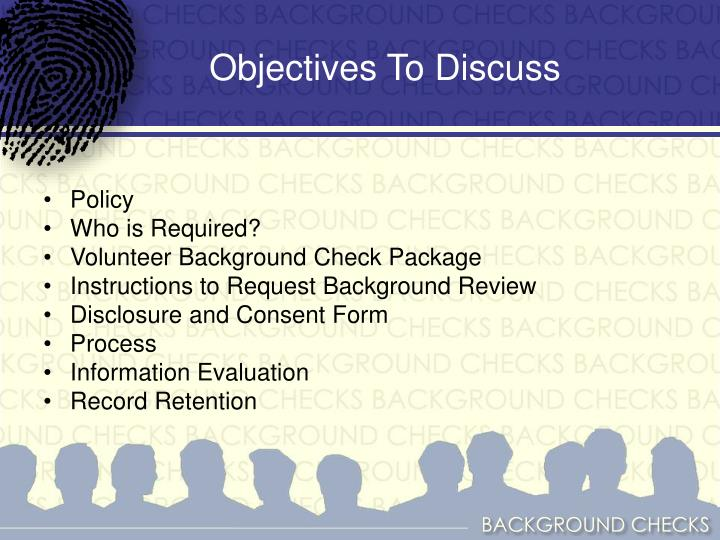 Objectives to discuss