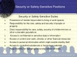 security or safety sensitive positions
