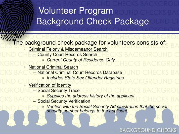 Volunteer Program Background Check Package