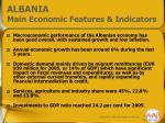 albania main economic features indicators
