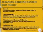 albanian banking system brief history