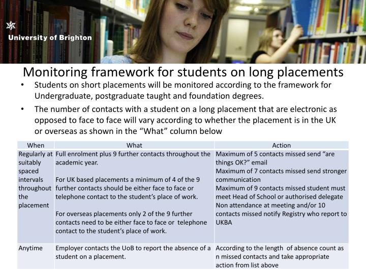 Monitoring framework for students on long placements