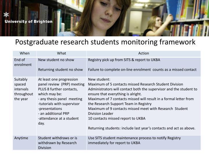 Postgraduate research students monitoring framework