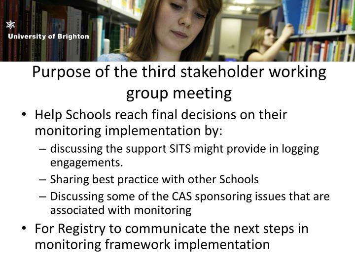 Purpose of the third stakeholder working group meeting
