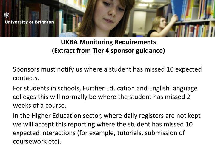 UKBA Monitoring Requirements