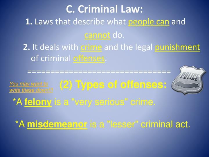 C. Criminal Law:
