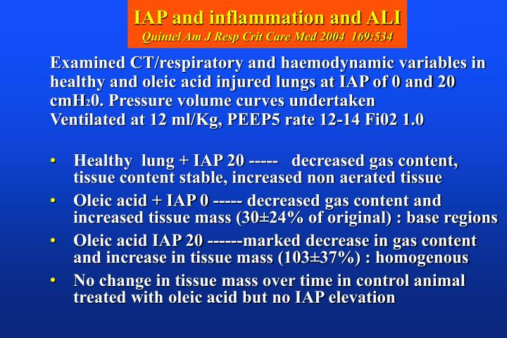 IAP and inflammation and ALI