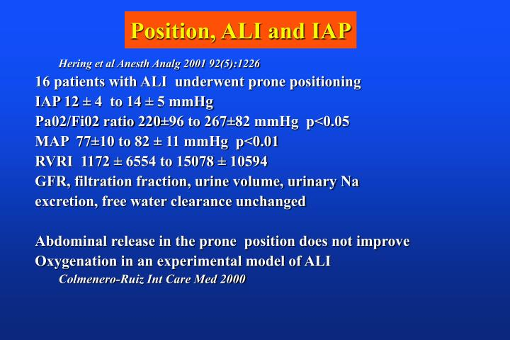 Position, ALI and IAP