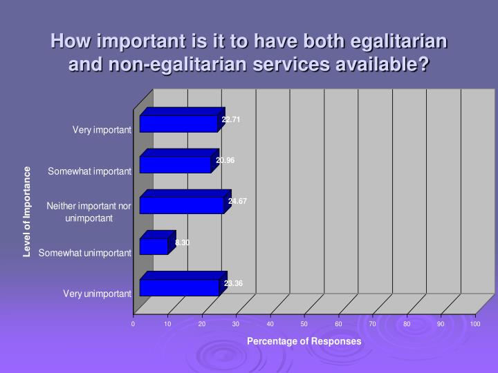 How important is it to have both egalitarian and non-egalitarian services available?