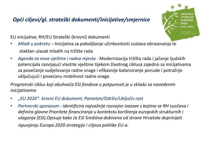Opći ciljevi/gl. strateški dokumenti/inicijative/smjernice