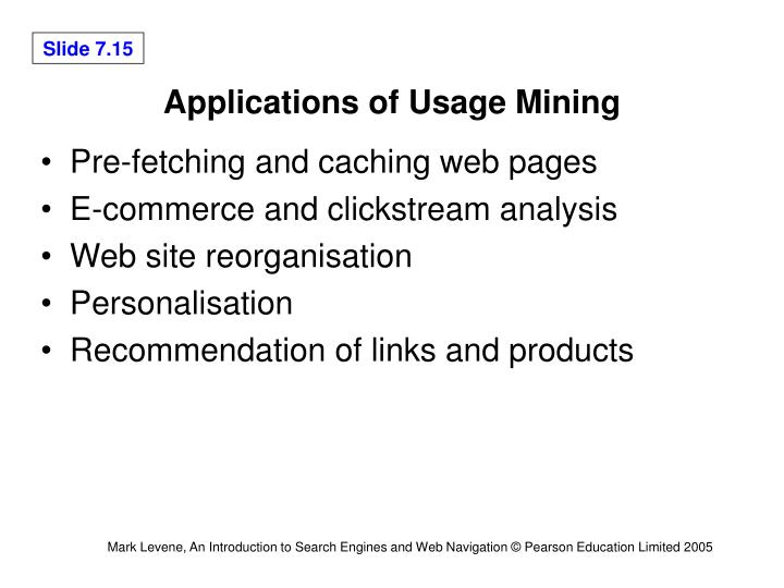 Applications of Usage Mining