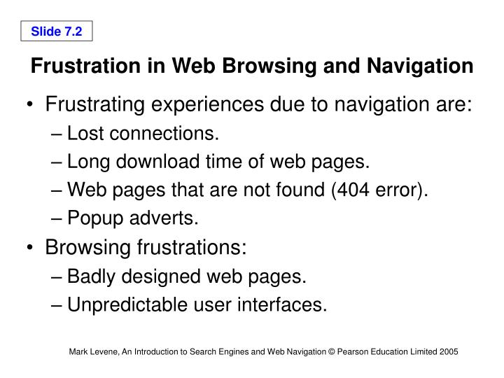Frustration in Web Browsing and Navigation