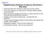 supplementary analyses to improve ecommerce web sites